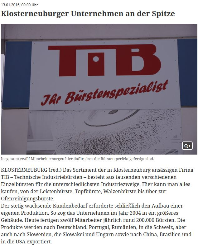 TIB - Klosterneuburger Unternehm an der Spitze